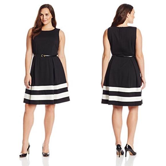 Calvin Klein Dresses Hp Fit Flare Black White Dress Poshmark